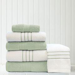Quick Dry 6 pc Stripe Contrast Bath Towel Set