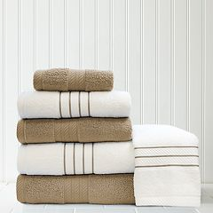 Quick Dry 6 pc Stripe Contrast Bath Towel Set