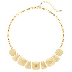 Gold Tone Geometric Disc Necklace