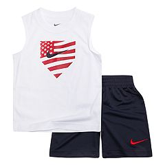 Boys 4-7 Nike Americana Baseball Plate Muscle Tee & Shorts Set