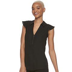 Juniors' Candie's® Zip Front Flutter Sleeve Top