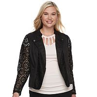 Juniors' Plus Size Candie's® Lace Moto Jacket