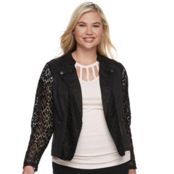 Juniors' Plus Size Candie's® Lace Moto Jacket