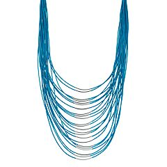 Cord & Curved Bar Multi Strand Necklace