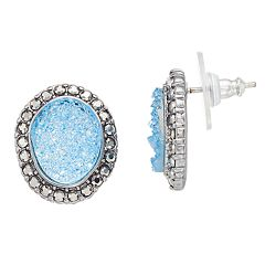 Simply Vera Vera Wang Blue Drusy Oval Stud Earrings