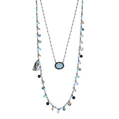 Simply Vera Vera Wang Blue Drusy Double Strand Necklace