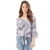 Juniors' IZ Byer Tie-Front Lace Bell Sleeve Top