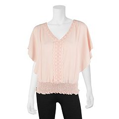 Juniors' IZ Byer Crochet Flutter Sleeve Top