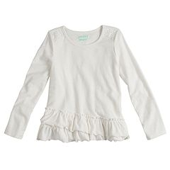 Girls 4-10 Jumping Beans® Ruffled Long Sleeve Solid Tee