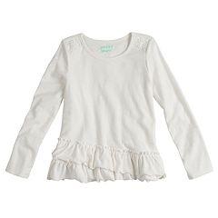 Girls 4-10 Jumping Beans® Ruffled Long Sleeve Solid Tee
