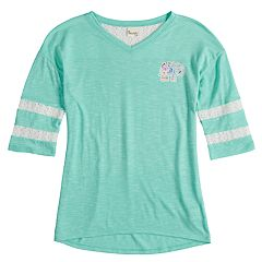 Girls 7-16 Mudd® Crochet Striped Sleeve Varsity Tee