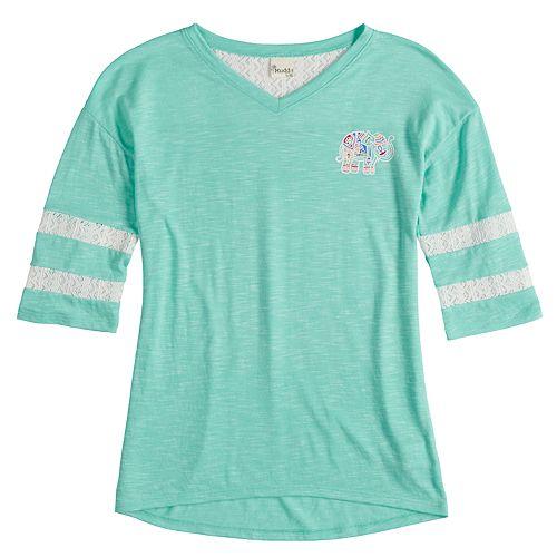 Girls 7-16 Mudd® Crochet Striped Sleeve Varsity Tee