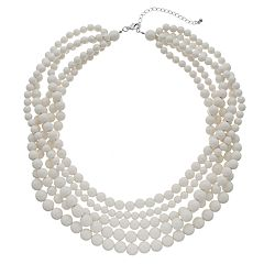 White Bead Multi Strand Necklace