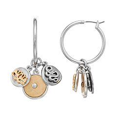 Simply Vera Vera Wang Two Tone Coin Charm Hoop Earrings