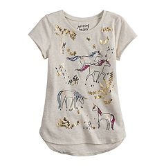 Girls 4-12 Jumping Beans® Foiled Unicorn High-Low Hem Tee