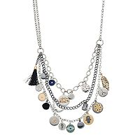 Simply Vera Vera Wang Tri Tone Charm Multi Strand Necklace