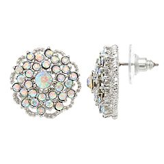 Simulated Crystal Button Stud Earrings