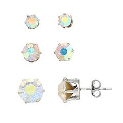 Simulated Crystal Stud Earring Set