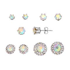Simulated Crystal Stud & Button Stud Earring Set