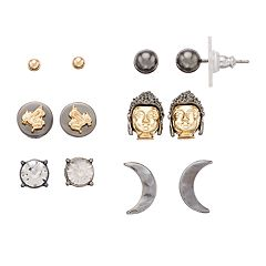 Simply Vera Vera Wang Two Tone Moon & Ball Stud Earring Set