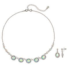 Simulated Crystal Halo Necklace & Drop Earring Set