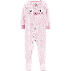 Toddler Girl Carter's Pink Cheetah Microfleece Footed Pajamas