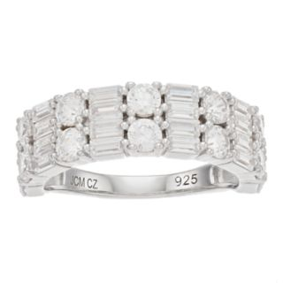 Sterling Silver Cubic Zirconia Baguette Ring