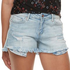 Juniors' Vanilla Star Frayed Shortie Jean Shorts