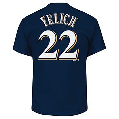 Men's Majestic Milwaukee Brewers Christian Yelich Name and Number Tee