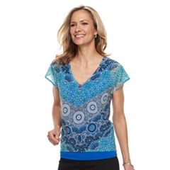 Petite Dana Buchman Double-Layer Mixed-Media Top