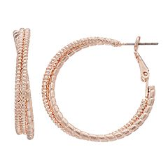 Textured Triple Hoop Nickel Free Earrings