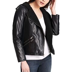 Women's Levi's® Hooded Asymmetrical Faux-Leather Moto Jacket