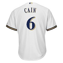 Men's Majestic Milwaukee Brewers Lorenzo Cain Replica Jersey