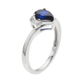 Sterling Silver Lab-Created Blue & White Sapphire Teardrop Ring