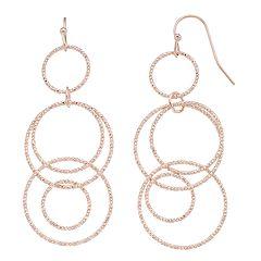 Textured Linear Nickel Free Hoop Drop Earrings