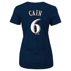 Plus Size Majestic Milwaukee Brewers Lorenzo Cain Name and Number Tee