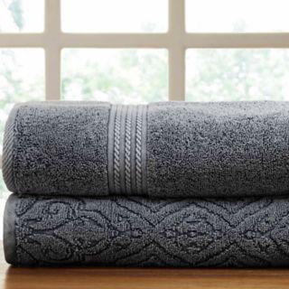 Allure Lifestyle 2-pack Denim Washed Fleur Lattice Bath Towel