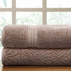 Allure Lifestyle 2-pack Denim Washed Fleur Lattice Bath Towel