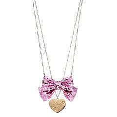 Girls JoJo Siwa Glittery Bow & Heart Necklace Set