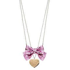 Girls JoJo Siwa Glittery Bow & Heart Necklace Set