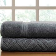 Allure Lifestyle 2-pack Denim Washed Deco Diamond Bath Towel