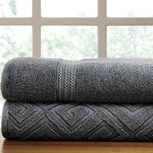 Allure Lifestyle 2-pack Denim Washed Deco Diamond Bath Towel