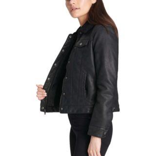 Women's Levi's® Sherpa-Lined Faux-Leather Trucker Jacket