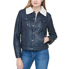 Women's Levi's® Sherpa-Lined Faux-Leather Trucker Jacket