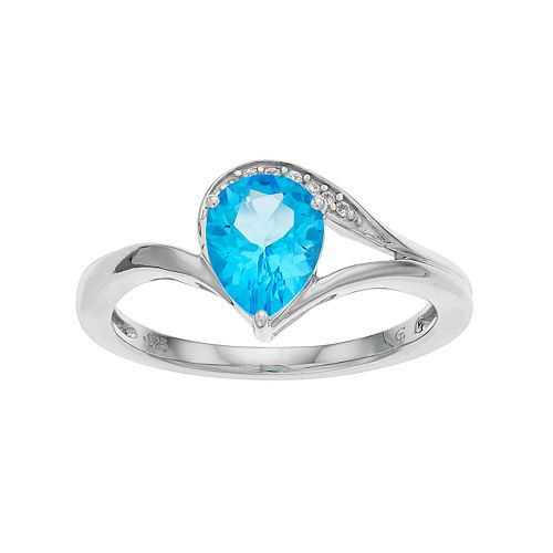 Sterling Silver Swiss Blue Topaz & Lab-Created White Sapphire Teardrop Ring