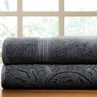 Allure Lifestyle 2-pack Denim Washed Filigree Leaf Bath Towel