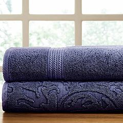 Allure Lifestyle 2-pack Denim Washed Filigree Leaf Bath Towel