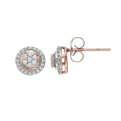 10k Rose Gold 1/5 Carat T.W. Diamond Halo Stud Earrings
