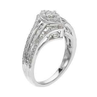 10k White Gold 1/2 Carat T.W. Diamond Marquise Ring