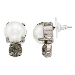 Simply Vera Vera Wang Simulated Pearl & Crystal Button Stud Earrings